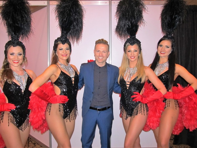 The Vegas Show Girls with West Lifes Nicky Byrne at The City West Hotel, Dublin